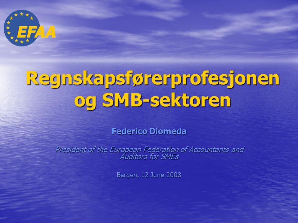 12 June 2008 NARF Annual MeetingFederico Diomeda2 SMB i EU Innledende tall (1) • 99% av alle virksomheter i EU er SMB, som utgjør mer enn 23 millioner virksomheter, og bidrar med mer enn 76% av jobbene • 29.8% av jobbene er i mikro-bedrifter; 20.8% er i små virksomheter og 16.5% er i mellomstore virksomheter • SMB er definert på et kvantitativt grunnlag etter EUs terskelverdier • Det er imidlertid viktig å merke seg at det er forskjell på økonomiske og andre regulerende faktorer