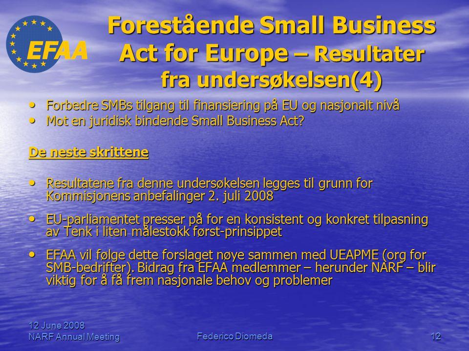 12 June 2008 NARF Annual MeetingFederico Diomeda12 Forestående Small Business Act for Europe – Resultater fra undersøkelsen(4) • Forbedre SMBs tilgang til finansiering på EU og nasjonalt nivå • Mot en juridisk bindende Small Business Act.
