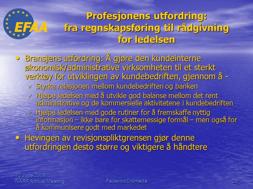 12 June 2008 NARF Annual MeetingFederico Diomeda20 Profesjonens utfordring: fra regnskapsføring til rådgivning for ledelsen • Bransjens utfordring: Å