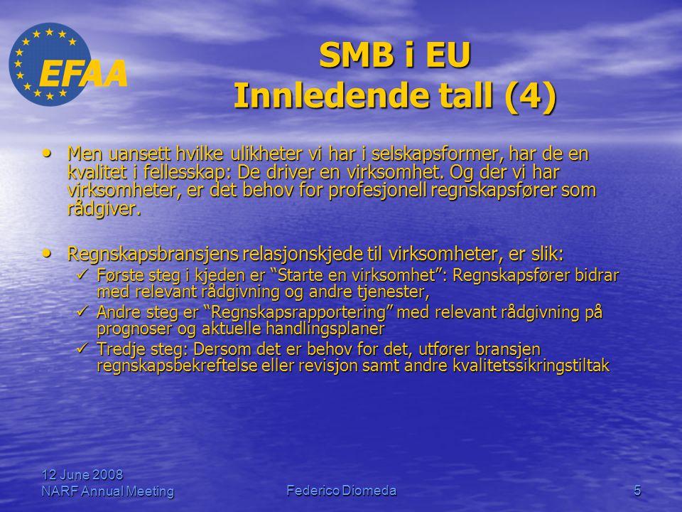 12 June 2008 NARF Annual MeetingFederico Diomeda5 SMB i EU Innledende tall (4) • Men uansett hvilke ulikheter vi har i selskapsformer, har de en kvali