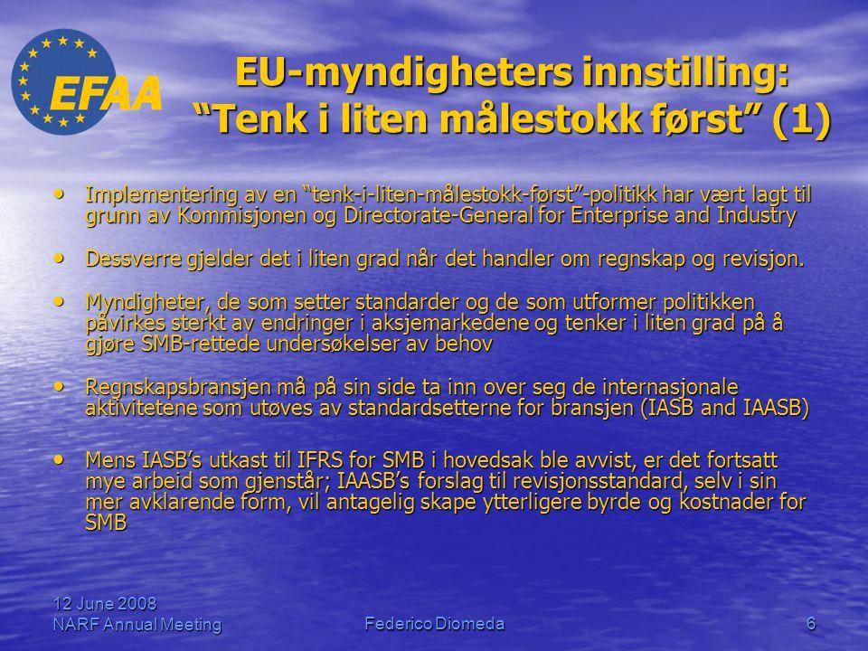 """12 June 2008 NARF Annual MeetingFederico Diomeda6 EU-myndigheters innstilling: """"Tenk i liten målestokk først"""" (1) • Implementering av en """"tenk-i-liten"""