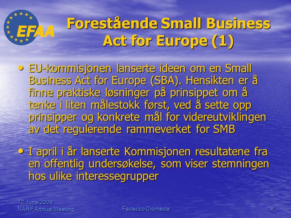 12 June 2008 NARF Annual MeetingFederico Diomeda9 Forestående Small Business Act for Europe – Resultater fra undersøkelsen (1) • De viktigste problemene som EUs SMB står overfor