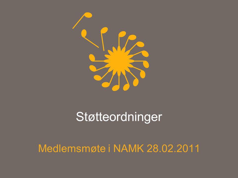 Støtteordninger Medlemsmøte i NAMK 28.02.2011