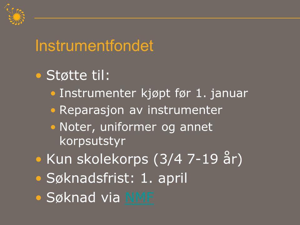 Instrumentfondet •Støtte til: •Instrumenter kjøpt før 1.