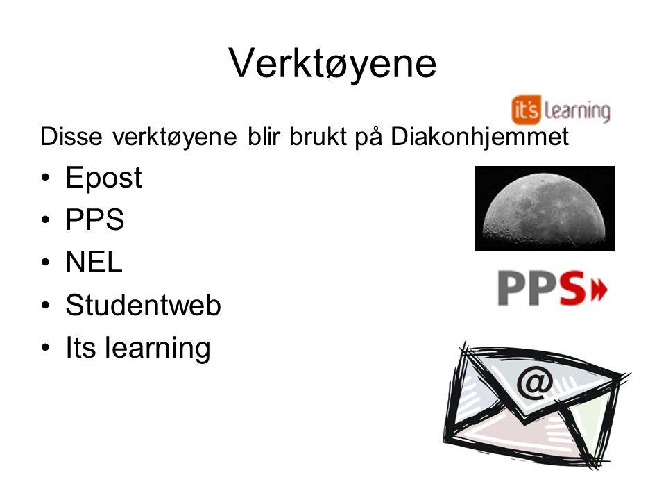 Verktøyene Disse verktøyene blir brukt på Diakonhjemmet •Epost •PPS •NEL •Studentweb •Its learning