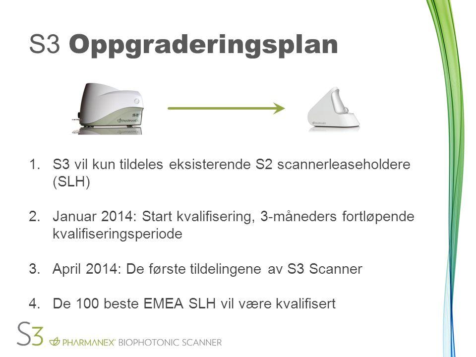 S3 Oppgraderingsplan 1.S3 vil kun tildeles eksisterende S2 scannerleaseholdere (SLH) 2.Januar 2014: Start kvalifisering, 3-måneders fortløpende kvalif