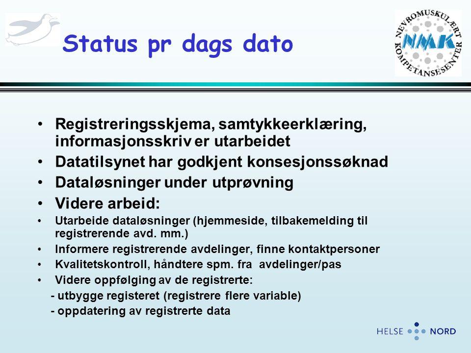 Status pr dags dato •Registreringsskjema, samtykkeerklæring, informasjonsskriv er utarbeidet •Datatilsynet har godkjent konsesjonssøknad •Dataløsninger under utprøvning •Videre arbeid: •Utarbeide dataløsninger (hjemmeside, tilbakemelding til registrerende avd.