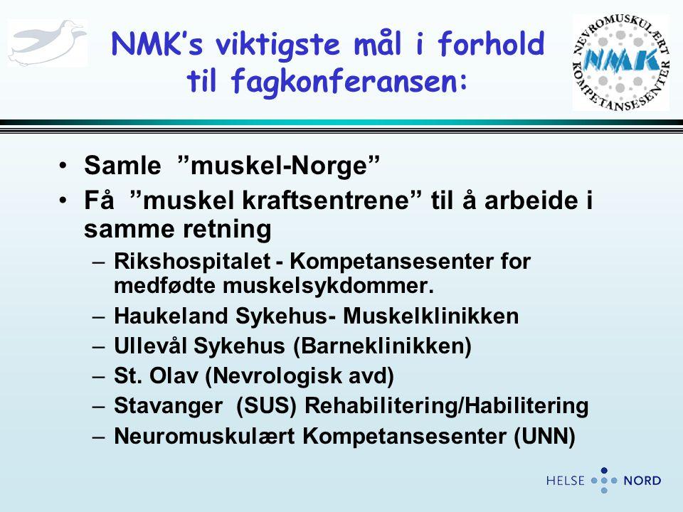 NMK's viktigste mål i forhold til fagkonferansen: •Samle muskel-Norge •Få muskel kraftsentrene til å arbeide i samme retning –Rikshospitalet - Kompetansesenter for medfødte muskelsykdommer.