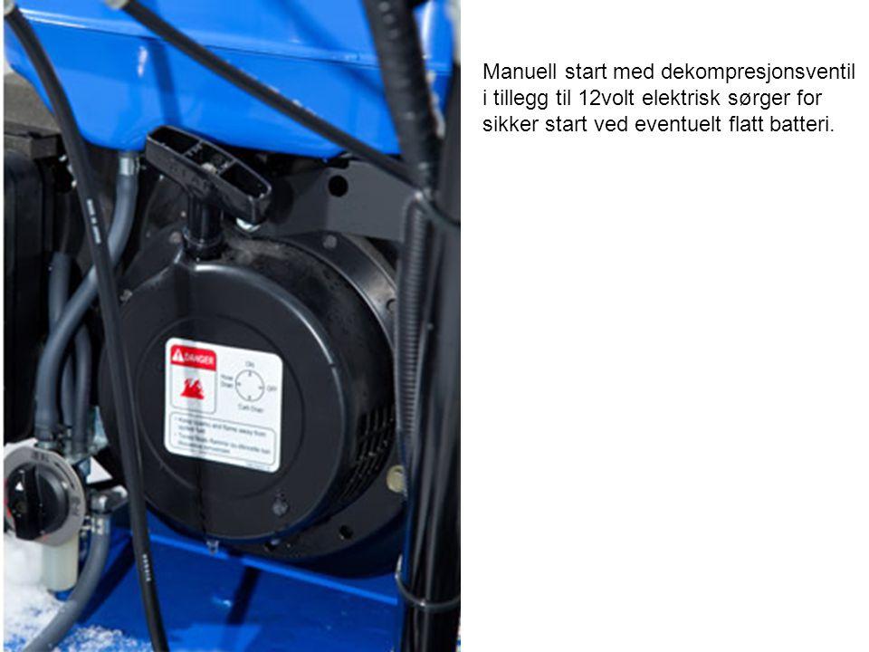 Manuell start med dekompresjonsventil i tillegg til 12volt elektrisk sørger for sikker start ved eventuelt flatt batteri.
