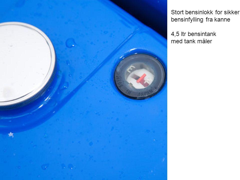 Stort bensinlokk for sikker bensinfylling fra kanne 4,5 ltr bensintank med tank måler