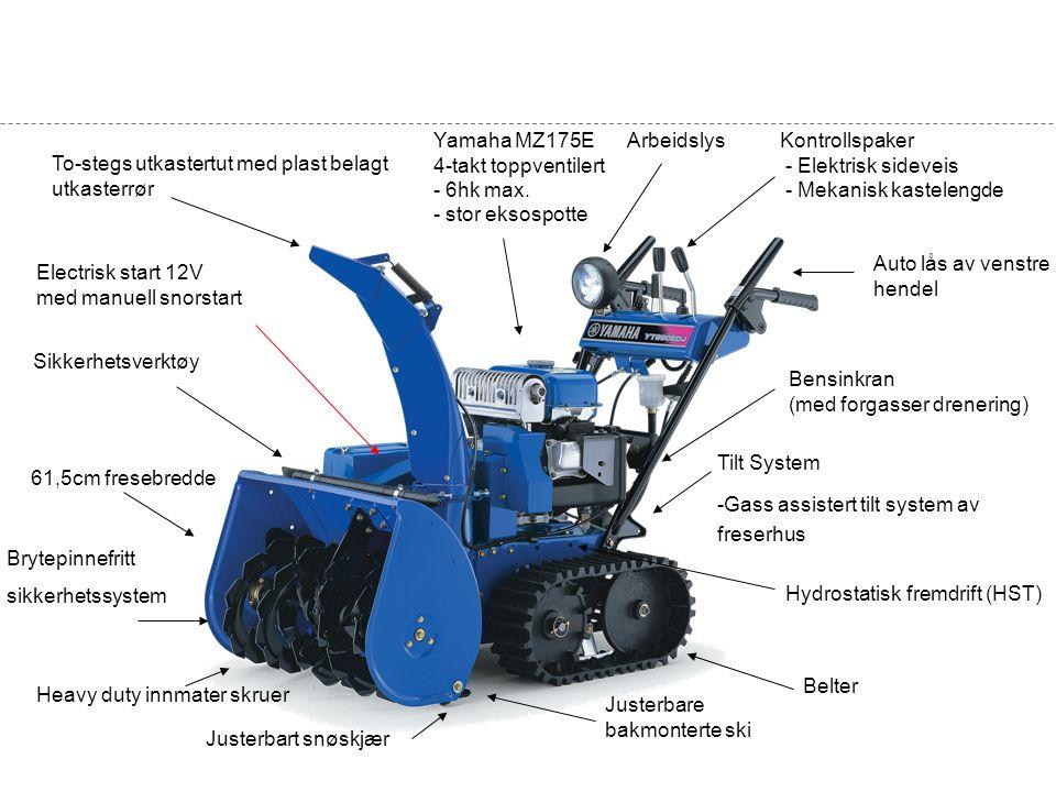 Yamaha MZ175E 4-takt toppventilert - 6hk max. - stor eksospotte Sikkerhetsverktøy 61,5cm fresebredde Hydrostatisk fremdrift (HST) Electrisk start 12V