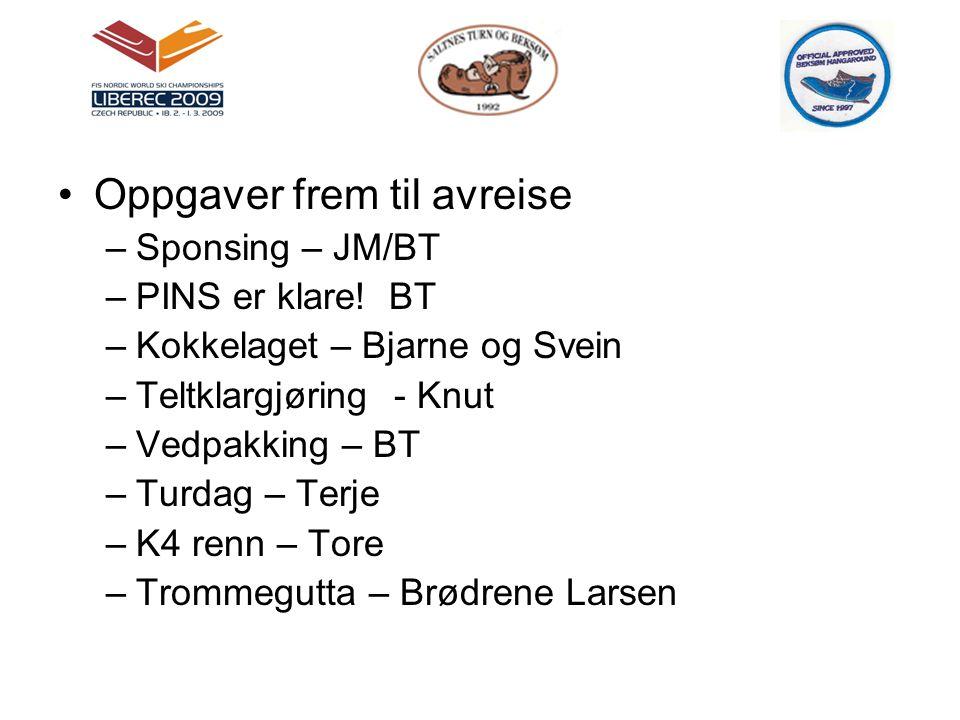 •Oppgaver frem til avreise –Sponsing – JM/BT –PINS er klare! BT –Kokkelaget – Bjarne og Svein –Teltklargjøring - Knut –Vedpakking – BT –Turdag – Terje