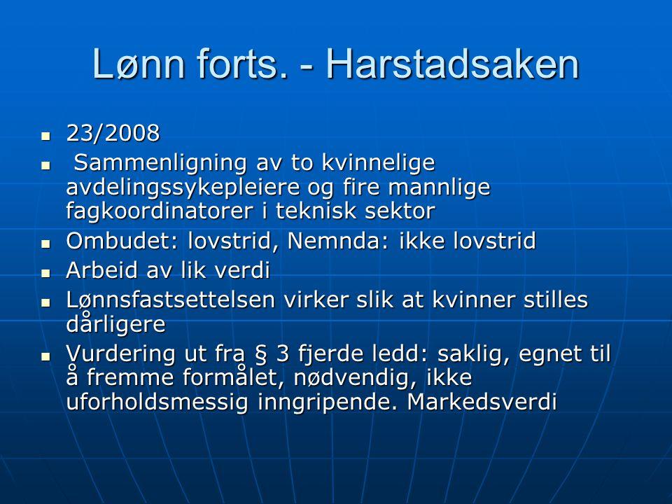 Lønn forts. - Harstadsaken  23/2008  Sammenligning av to kvinnelige avdelingssykepleiere og fire mannlige fagkoordinatorer i teknisk sektor  Ombude