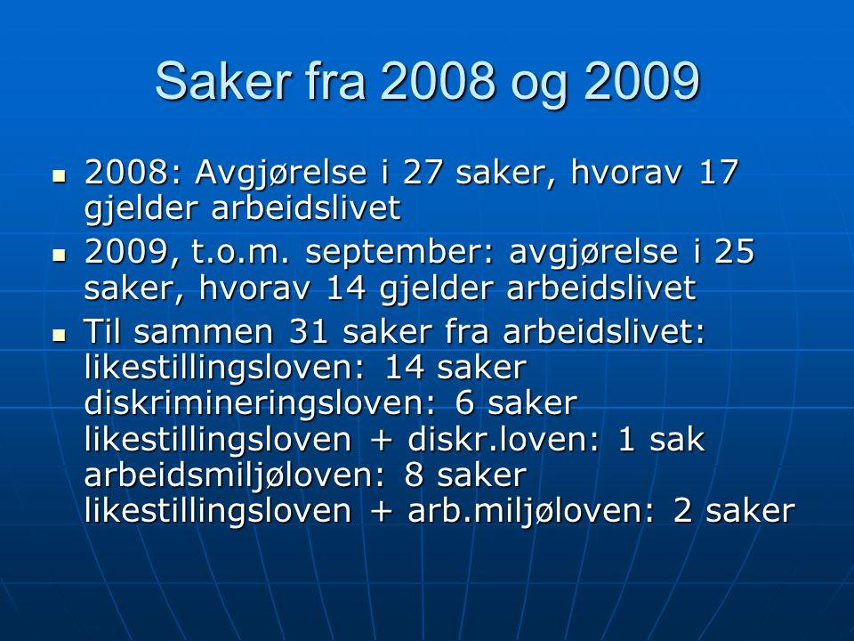 Saker fra 2008 og 2009  2008: Avgjørelse i 27 saker, hvorav 17 gjelder arbeidslivet  2009, t.o.m. september: avgjørelse i 25 saker, hvorav 14 gjelde