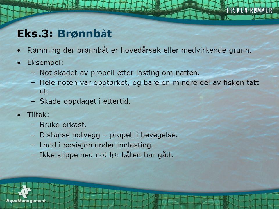 •Rømming der brønnbåt er hovedårsak eller medvirkende grunn. •Eksempel: –Not skadet av propell etter lasting om natten. –Hele noten var opptørket, og