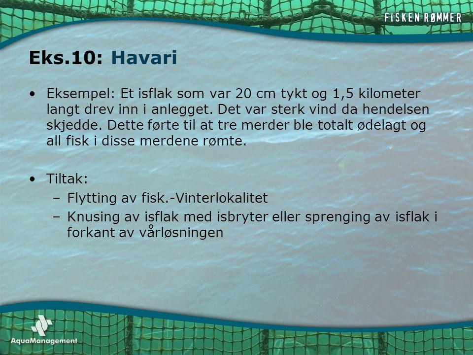 Eks.10: Havari •Eksempel: Et isflak som var 20 cm tykt og 1,5 kilometer langt drev inn i anlegget. Det var sterk vind da hendelsen skjedde. Dette ført