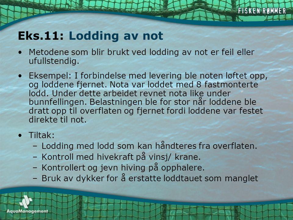 Eks.11: Lodding av not •Metodene som blir brukt ved lodding av not er feil eller ufullstendig. •Eksempel: I forbindelse med levering ble noten løftet