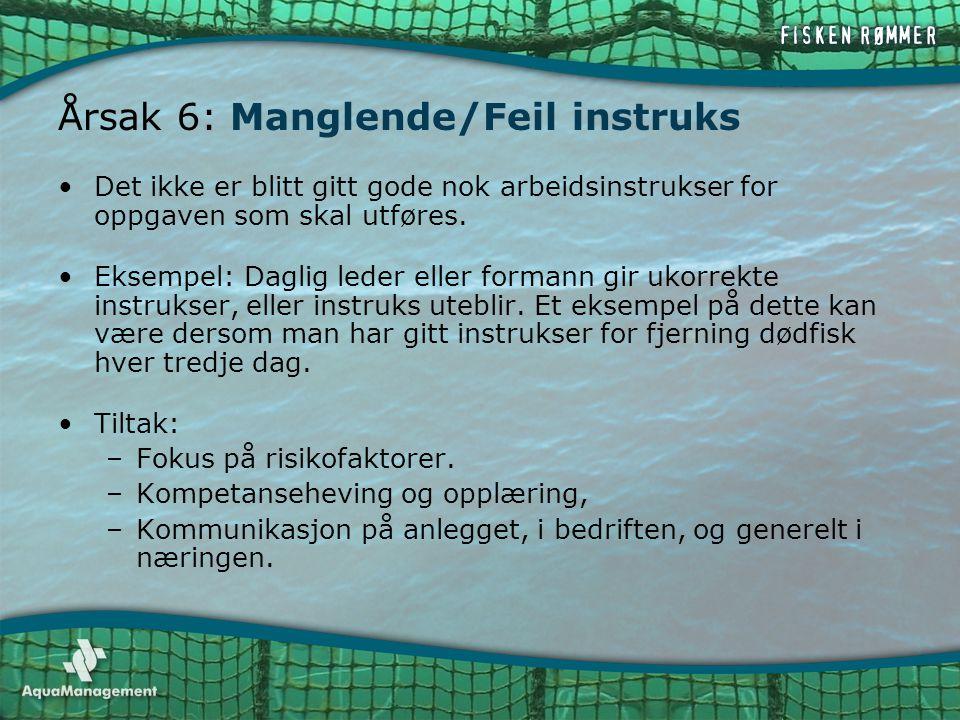 Årsak 6: Manglende/Feil instruks •Det ikke er blitt gitt gode nok arbeidsinstrukser for oppgaven som skal utføres. •Eksempel: Daglig leder eller forma