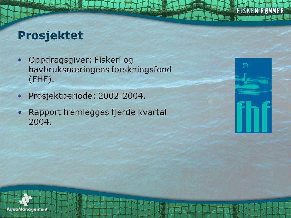 Prosjektet •Oppdragsgiver: Fiskeri og havbruksnæringens forskningsfond (FHF). •Prosjektperiode: 2002-2004. •Rapport fremlegges fjerde kvartal 2004.
