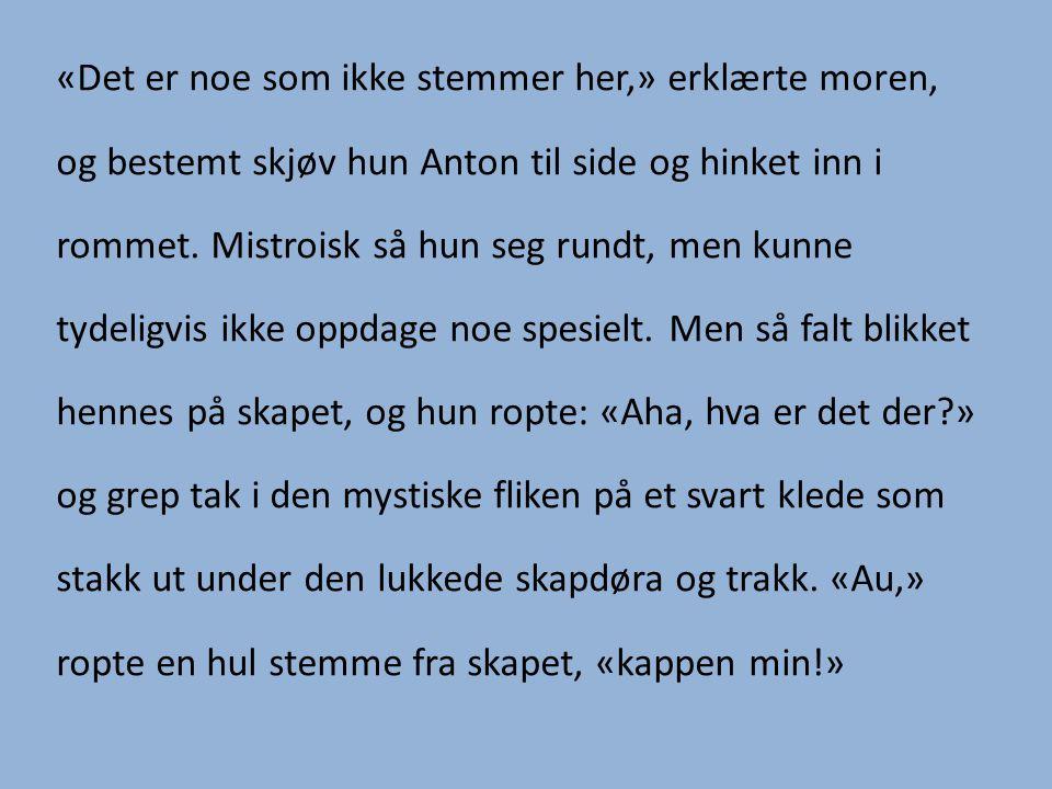 «Det er noe som ikke stemmer her,» erklærte moren, og bestemt skjøv hun Anton til side og hinket inn i rommet.