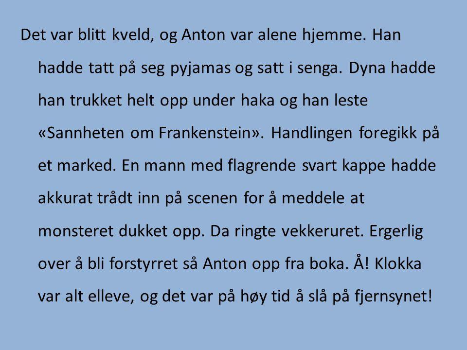 Det var blitt kveld, og Anton var alene hjemme. Han hadde tatt på seg pyjamas og satt i senga. Dyna hadde han trukket helt opp under haka og han leste