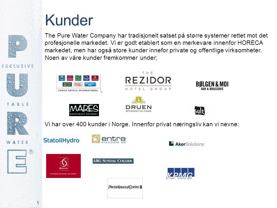 Kunder The Pure Water Company har tradisjonelt satset på større systemer rettet mot det profesjonelle markedet. Vi er godt etablert som en merkevare i