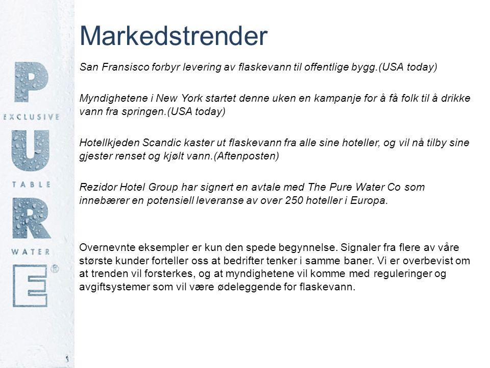 Markedstrender San Fransisco forbyr levering av flaskevann til offentlige bygg.(USA today) Myndighetene i New York startet denne uken en kampanje for