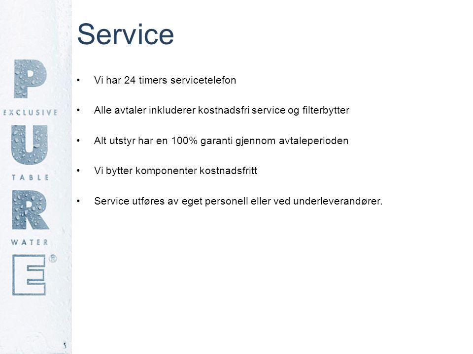 Service •Vi har 24 timers servicetelefon •Alle avtaler inkluderer kostnadsfri service og filterbytter •Alt utstyr har en 100% garanti gjennom avtalepe