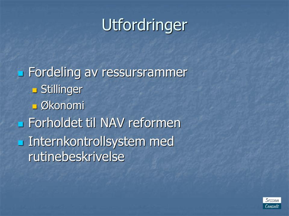 Utfordringer  Fordeling av ressursrammer  Stillinger  Økonomi  Forholdet til NAV reformen  Internkontrollsystem med rutinebeskrivelse