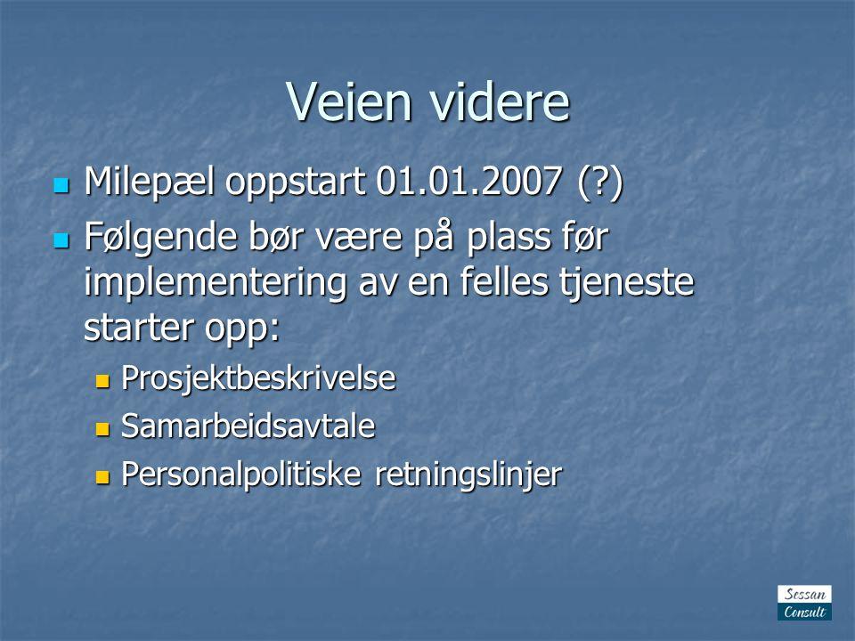 Veien videre  Milepæl oppstart 01.01.2007 ( )  Følgende bør være på plass før implementering av en felles tjeneste starter opp:  Prosjektbeskrivelse  Samarbeidsavtale  Personalpolitiske retningslinjer