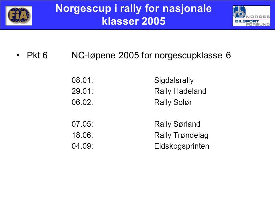 Norgescup i rally for nasjonale klasser 2005 •Pkt 6NC-løpene 2005 for norgescupklasse 6 08.01:Sigdalsrally 29.01:Rally Hadeland 06.02: Rally Solør 07.05:Rally Sørland 18.06:Rally Trøndelag 04.09:Eidskogsprinten