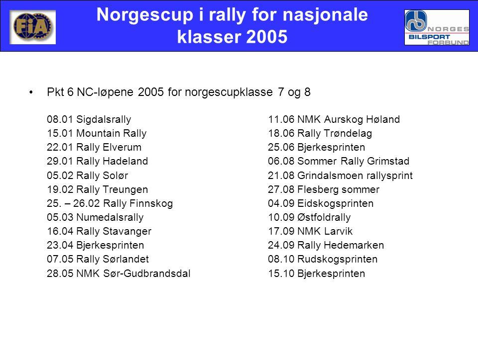 Norgescup i rally for nasjonale klasser 2005 •Pkt 6NC-løpene 2005 for norgescupklasse 7 og 8 08.01 Sigdalsrally11.06 NMK Aurskog Høland 15.01 Mountain