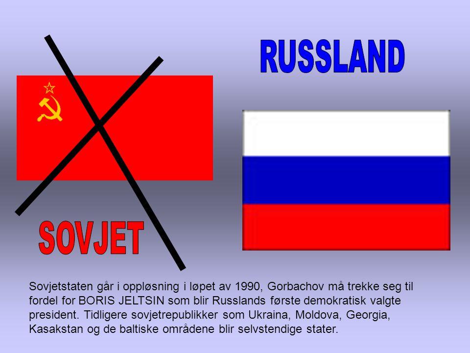 Sovjetstaten går i oppløsning i løpet av 1990, Gorbachov må trekke seg til fordel for BORIS JELTSIN som blir Russlands første demokratisk valgte president.