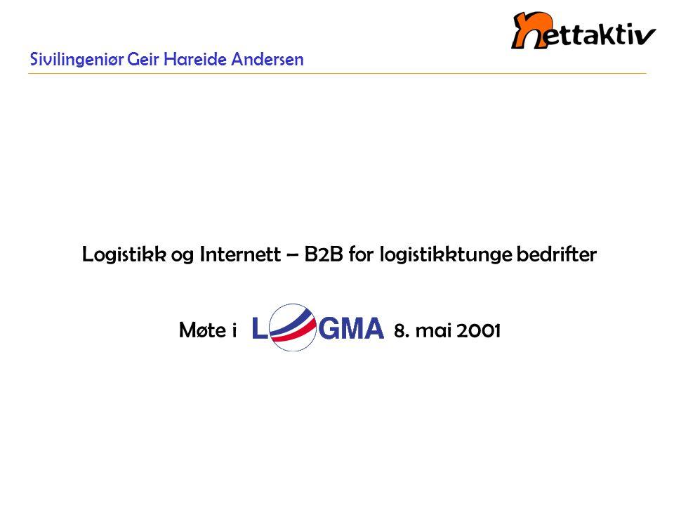 Sivilingeniør Geir Hareide Andersen Logistikk og Internett – B2B for logistikktunge bedrifter Møte i 8. mai 2001