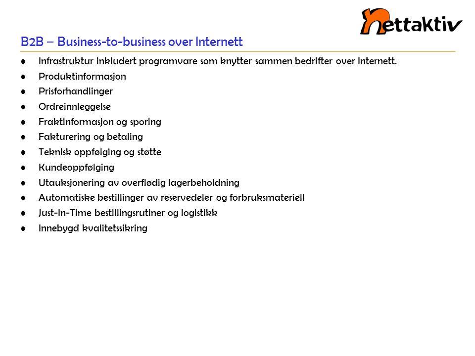 B2B og andre Internettbaserte aktiviteter Hortaler (horisontale portaler) Støtte for vanlige handelsfunksjoner og prosesser rettet inn mot handel med varer på tvers av mange industrier.
