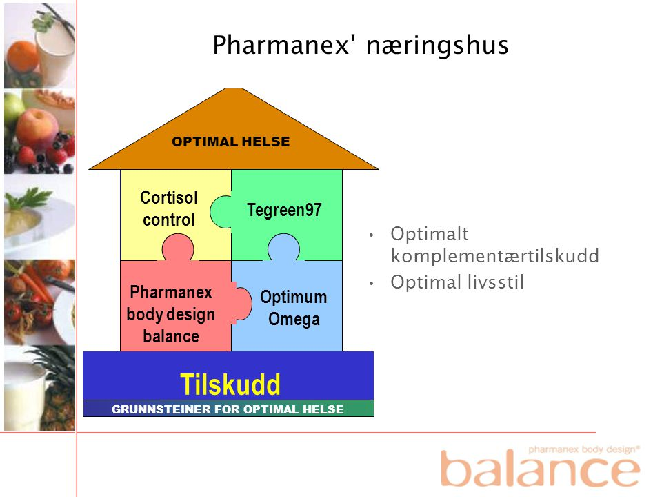 OPTIMAL HELSE Cortisol control Optimum Omega Pharmanex body design balance Tilskudd GRUNNSTEINER FOR OPTIMAL HELSE Tegreen97 •Optimalt komplementærtil