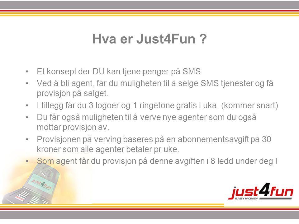 Hva er Just4Fun ? •Et konsept der DU kan tjene penger på SMS •Ved å bli agent, får du muligheten til å selge SMS tjenester og få provisjon på salget.