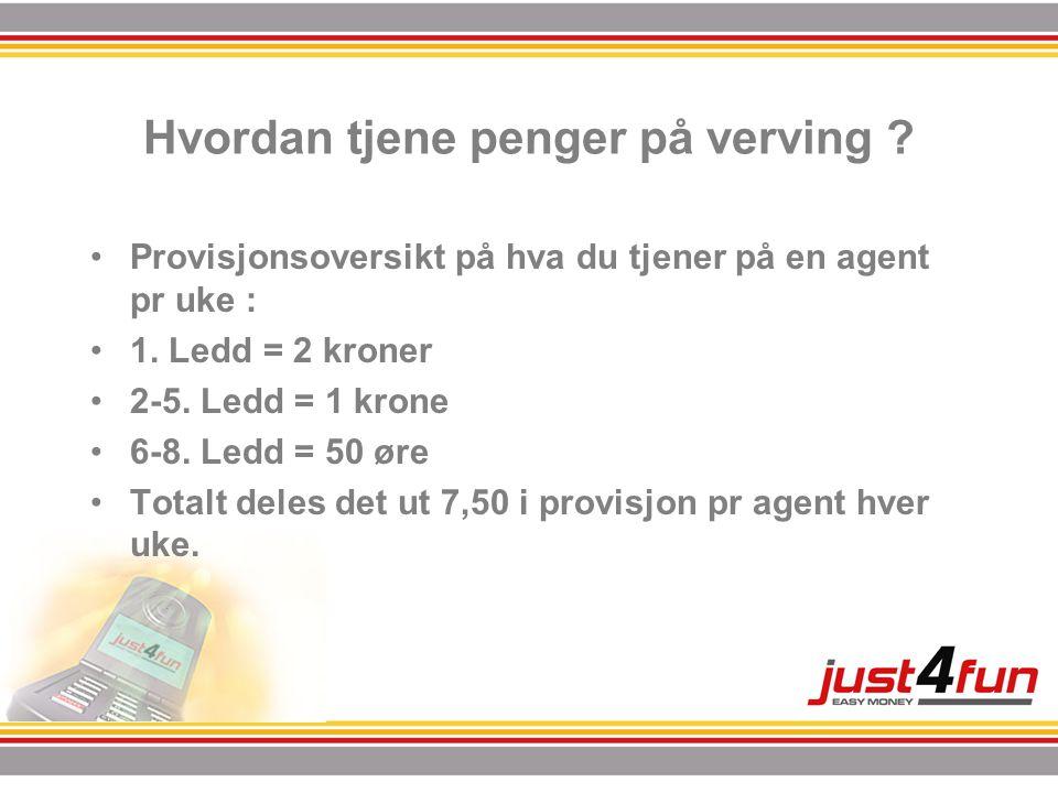Hvordan tjene penger på verving ? •Provisjonsoversikt på hva du tjener på en agent pr uke : •1. Ledd = 2 kroner •2-5. Ledd = 1 krone •6-8. Ledd = 50 ø