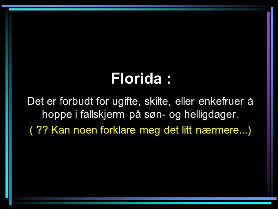 Florida : Det er forbudt for ugifte, skilte, eller enkefruer å hoppe i fallskjerm på søn- og helligdager.
