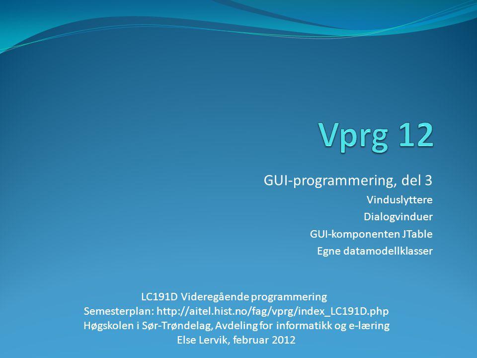 GUI-programmering, del 3 Vinduslyttere Dialogvinduer GUI-komponenten JTable Egne datamodellklasser LC191D Videregående programmering Semesterplan: http://aitel.hist.no/fag/vprg/index_LC191D.php Høgskolen i Sør-Trøndelag, Avdeling for informatikk og e-læring Else Lervik, februar 2012