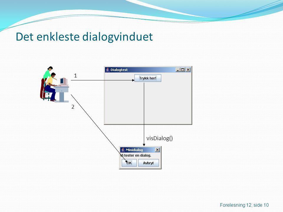 Det enkleste dialogvinduet visDialog() 1 2 Forelesning 12, side 10