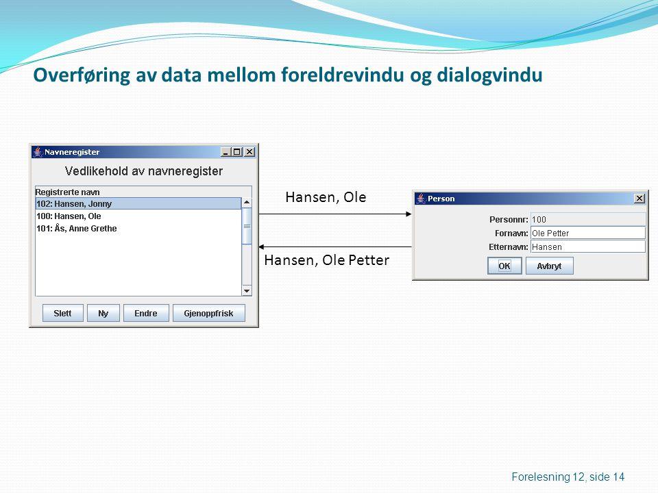 Overføring av data mellom foreldrevindu og dialogvindu Hansen, Ole Hansen, Ole Petter Forelesning 12, side 14