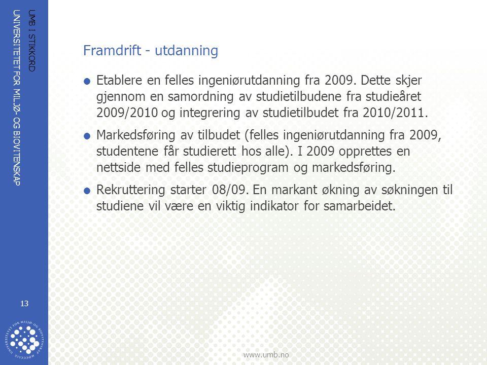 UNIVERSITETET FOR MILJØ- OG BIOVITENSKAP www.umb.no UMB I STIKKORD 13 Framdrift - utdanning  Etablere en felles ingeniørutdanning fra 2009. Dette skj