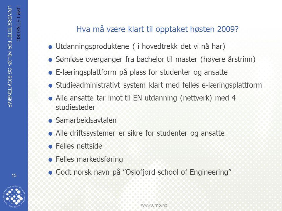 UNIVERSITETET FOR MILJØ- OG BIOVITENSKAP www.umb.no UMB I STIKKORD 15 Hva må være klart til opptaket høsten 2009?  Utdanningsproduktene ( i hovedtrek