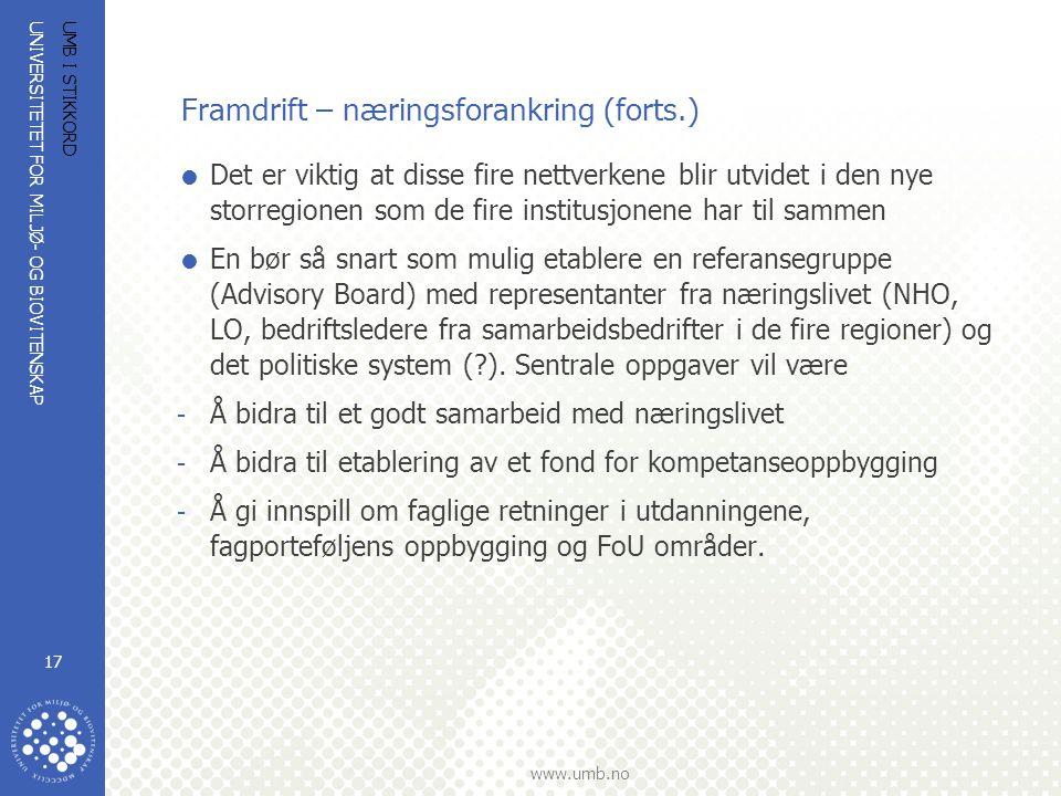 UNIVERSITETET FOR MILJØ- OG BIOVITENSKAP www.umb.no UMB I STIKKORD 17 Framdrift – næringsforankring (forts.)  Det er viktig at disse fire nettverkene