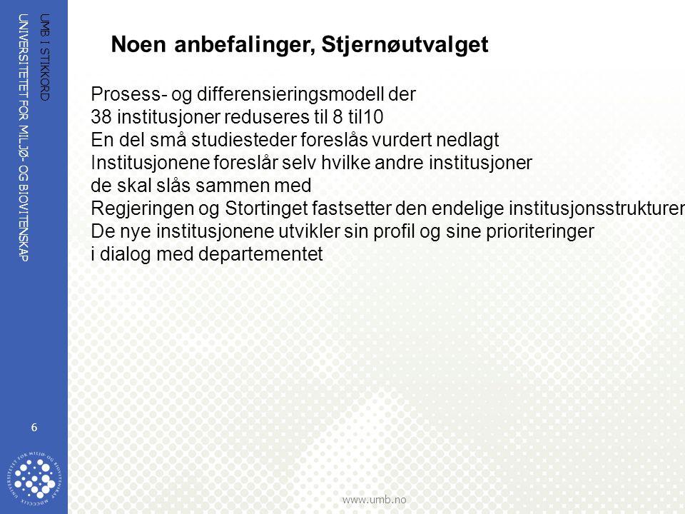 UNIVERSITETET FOR MILJØ- OG BIOVITENSKAP www.umb.no UMB I STIKKORD 6 Noen anbefalinger, Stjernøutvalget Prosess- og differensieringsmodell der 38 inst