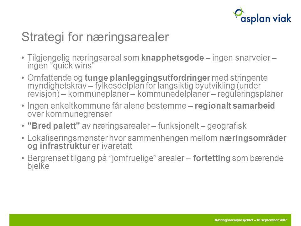 """Strategi for næringsarealer •Tilgjengelig næringsareal som knapphetsgode – ingen snarveier – ingen """"quick wins"""" •Omfattende og tunge planleggingsutfor"""