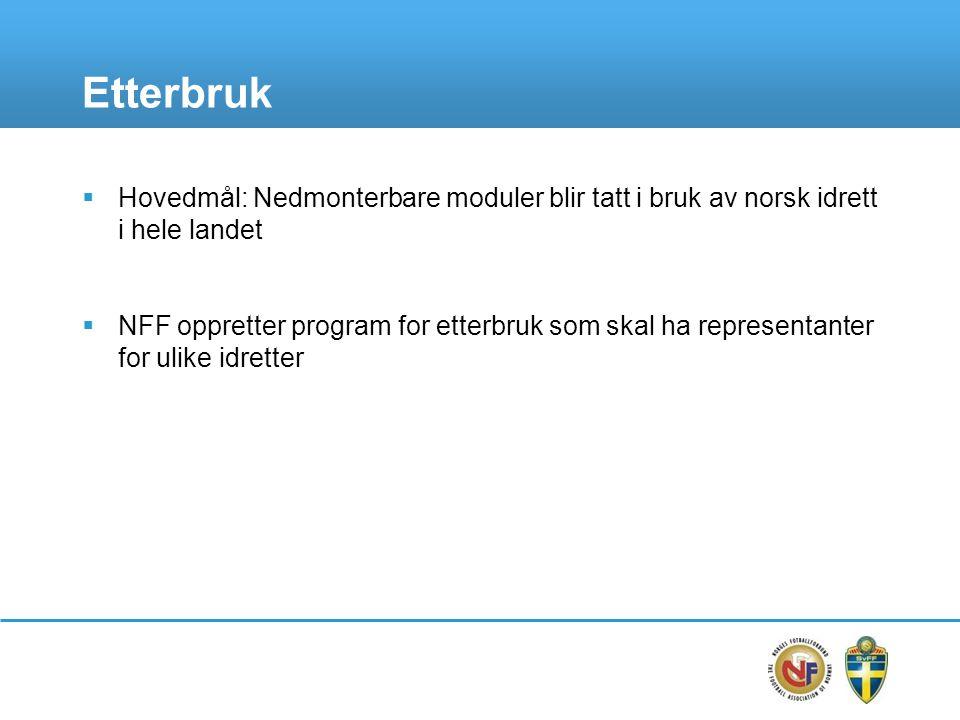 Etterbruk  Hovedmål: Nedmonterbare moduler blir tatt i bruk av norsk idrett i hele landet  NFF oppretter program for etterbruk som skal ha represent