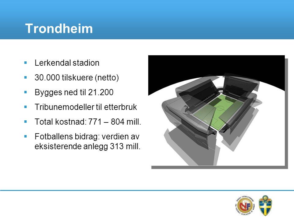 Trondheim  Lerkendal stadion  30.000 tilskuere (netto)  Bygges ned til 21.200  Tribunemodeller til etterbruk  Total kostnad: 771 – 804 mill.  Fo