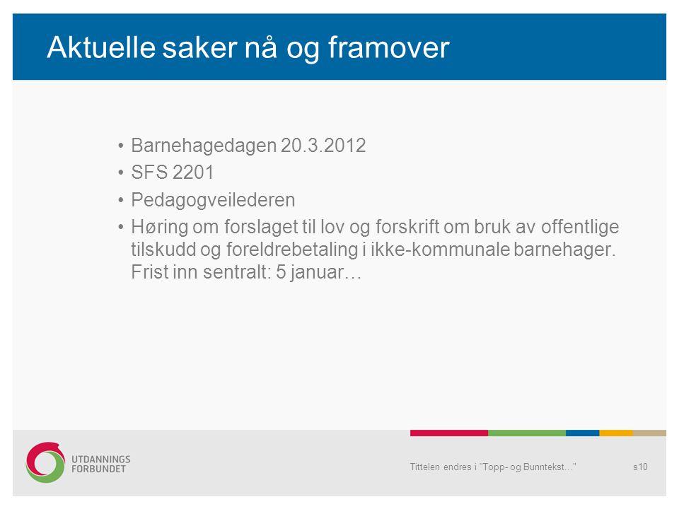Aktuelle saker nå og framover •Barnehagedagen 20.3.2012 •SFS 2201 •Pedagogveilederen •Høring om forslaget til lov og forskrift om bruk av offentlige t